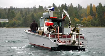 Geoduck harvesting boat on Hood Canal, Washington